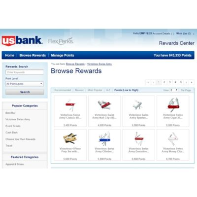 US Bank swiss army browse rewards